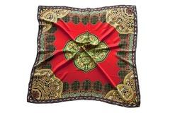 Итальянский платок из шелка красный с орнаментом 5127