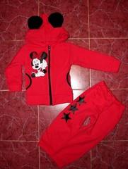 Детский костюмчик для девочек Минни маус, футер начесной червоний