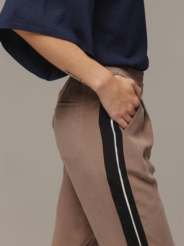 Женские серо-коричневые брюки из 100% шелка - фото 4