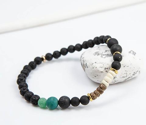 Мужской браслет из лавы, шунгита и дерева
