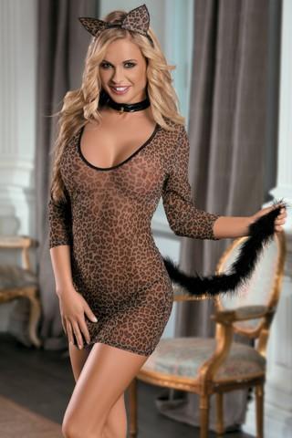 Костюм кошки: платье, стринги, галстук и ушки