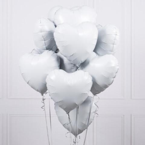 Фольгированные белые сердца