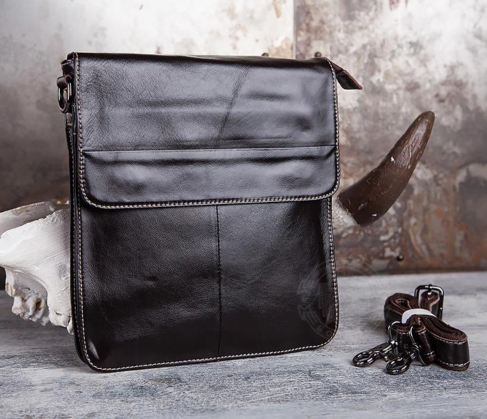 BAG432-2 Красивая мужская сумка с ремнем на плечо из натуральной кожи фото 01