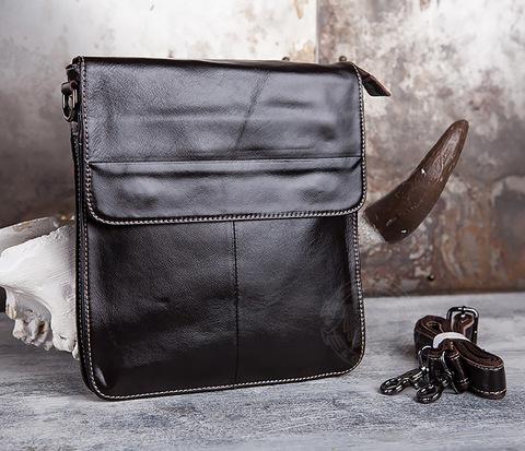 Красивая мужская сумка с ремнем на плечо из натуральной кожи