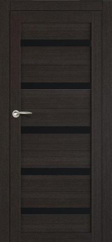 > Экошпон ЛесКом Техно-5, стекло чёрное, цвет орех тёмный, остекленная
