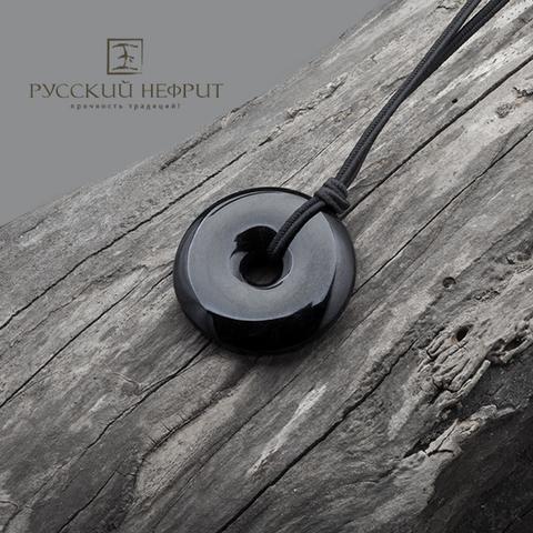 Чёрный диск Би из нефрита. Малый.