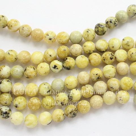 Бусина Бирюза Желтая, шарик, 8 мм, нить (светлые)