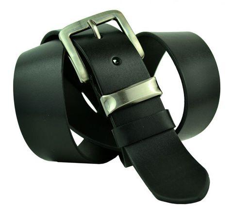 Классический мужской джинсовый чёрный ремень 40 мм из натуральной кожи российского производства 40Maybik-044