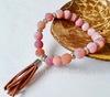 Бусина Агат цветочный матовый (тониров), шарик, цвет - светло-коричневый, 8 мм, нить (пример. Браслет из натуральных камней)
