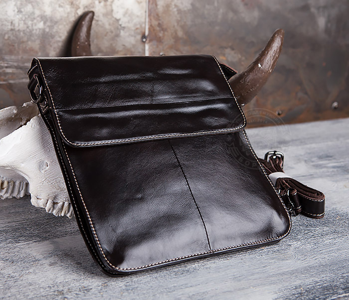 BAG432-2 Красивая мужская сумка с ремнем на плечо из натуральной кожи фото 02