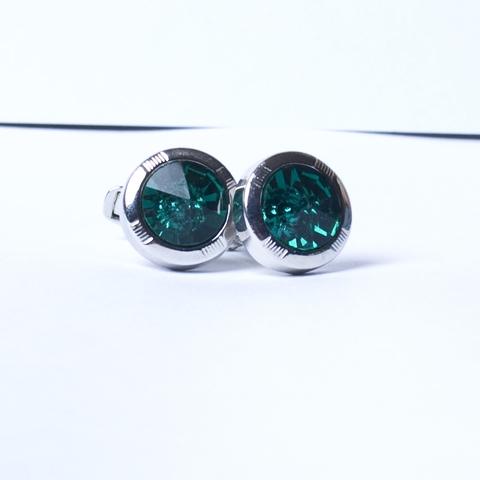 Запонки La madre белого металла круглые выпуклый зеленый камень