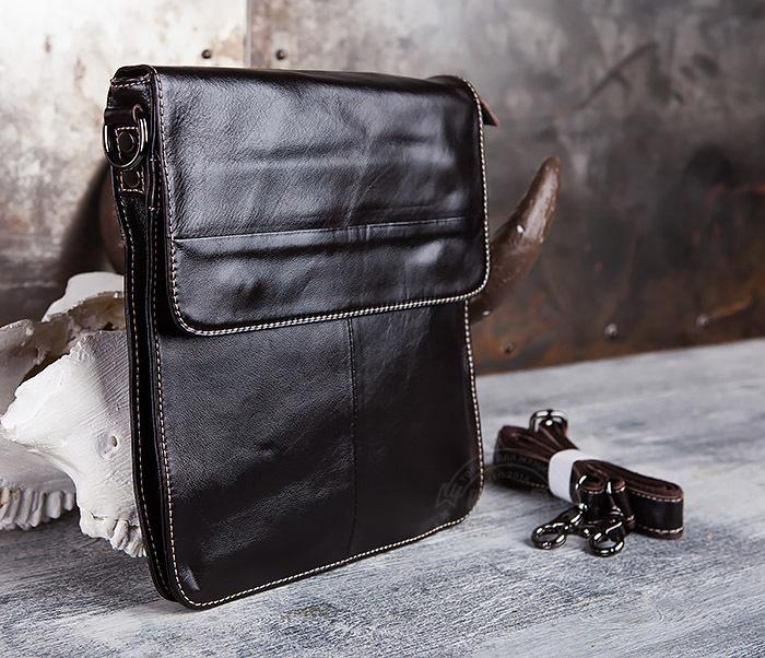 BAG432-2 Красивая мужская сумка с ремнем на плечо из натуральной кожи фото 03