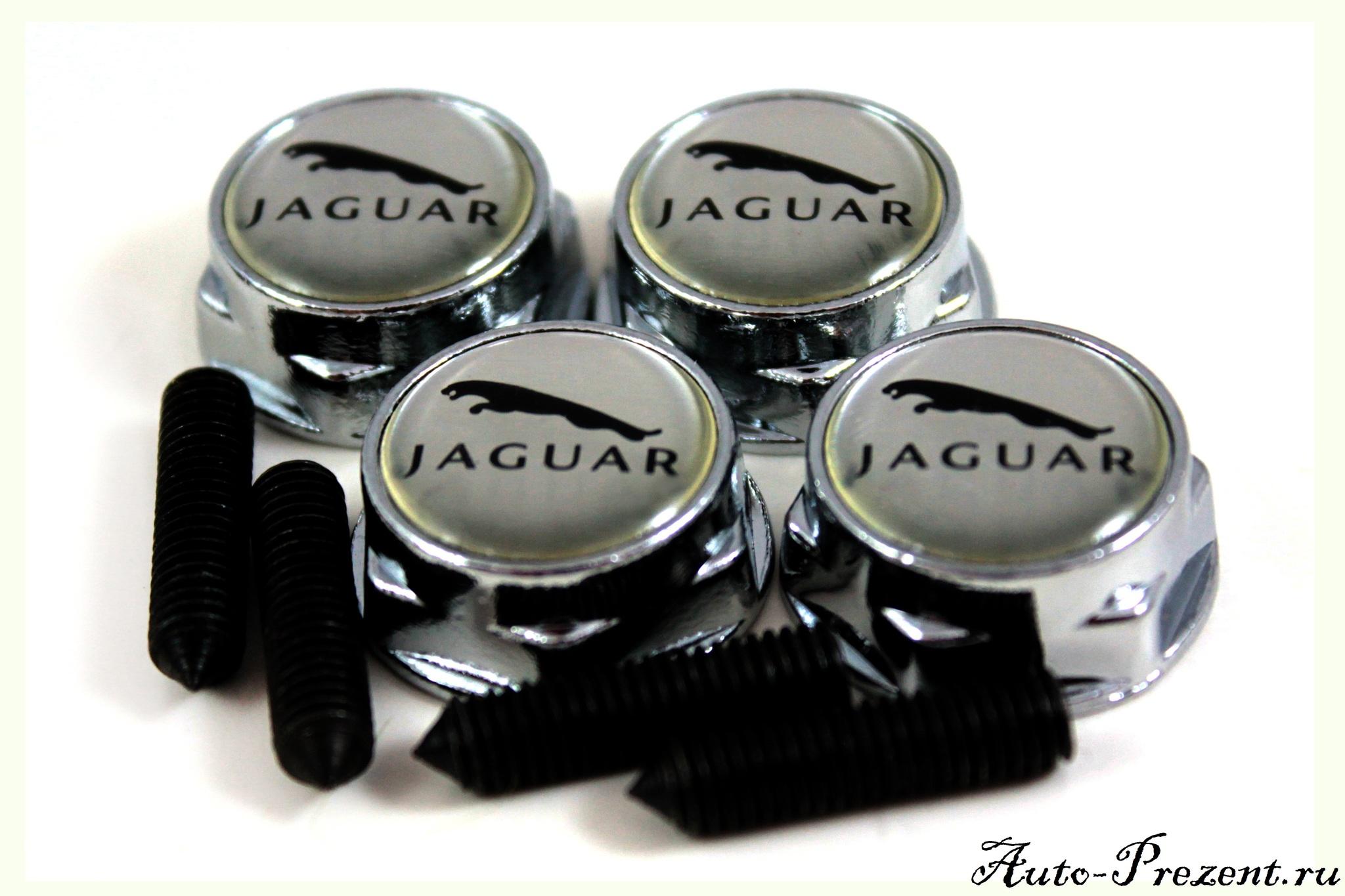 Болты для крепления госномера с логотипом JAGUAR