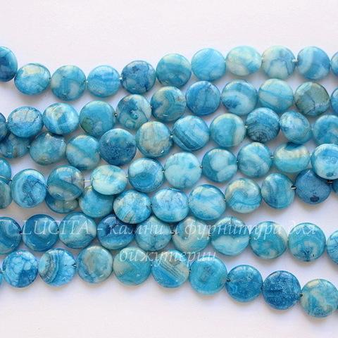 """Бусина Агат """"Крейзи"""" (тониров), круглая плоская, цвет - голубой, 12х4 мм, нить"""