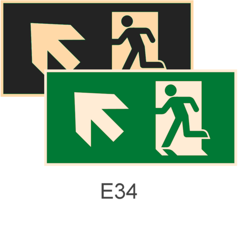 знаки фотолюминесцентные эвакуационные Е34 Направление к эвакуационному выходу налево вверх