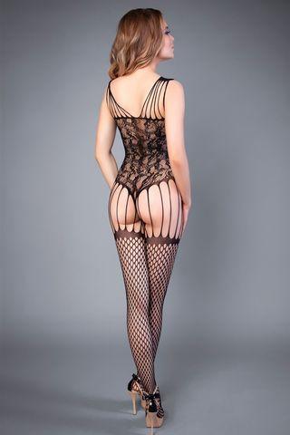 Боди-комбинезон 04505 черного цвета с имитацией чулок в крупную сетку фото