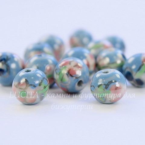 """Бусина фарфоровая ручной работы, шарик ,""""Розовый цветок на голубом фоне"""", 10 мм"""
