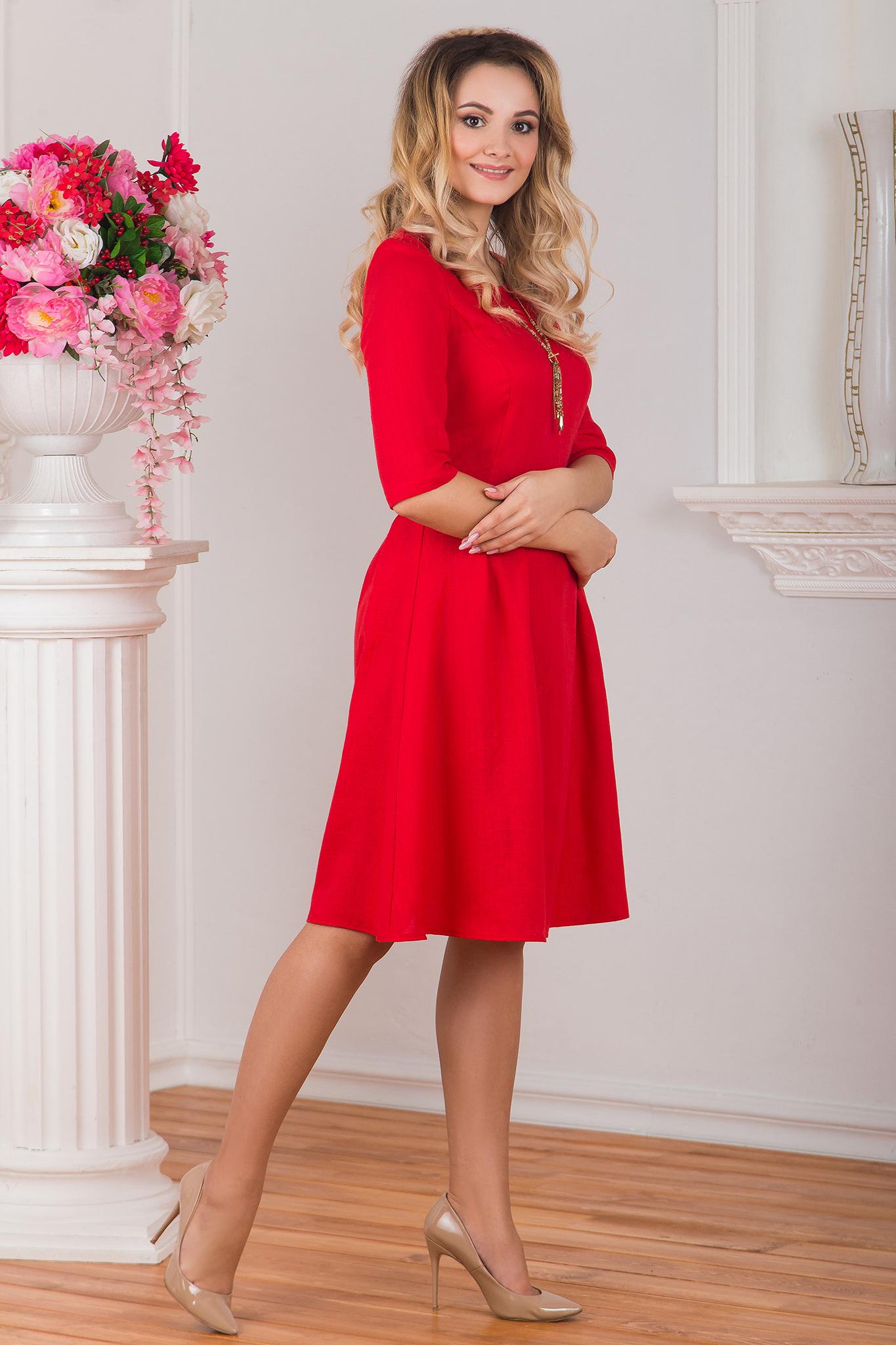 Платье льняное Гербера вид сбоку