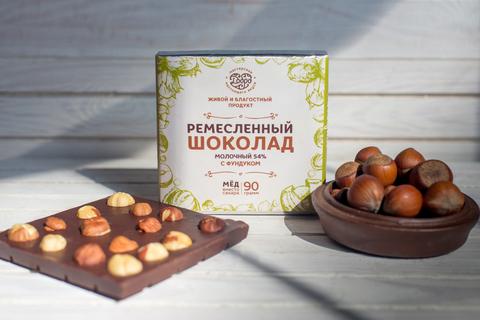 Шоколад молочный, 54% какао, на меду, с фундуком 50 гр