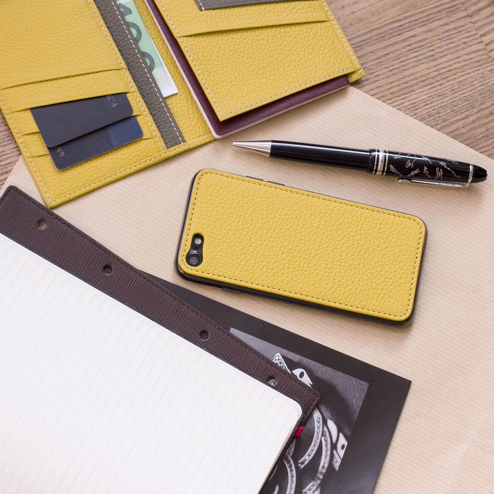 Чехол-накладка для iPhone 8 из натуральной кожи теленка, желтого цвета