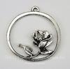 """Подвеска  """"Роза в рамке"""" (цвет - античное серебро) 34х32 мм"""