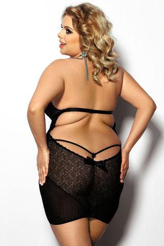 Черная эротическая сорочка черного цвета большого размера
