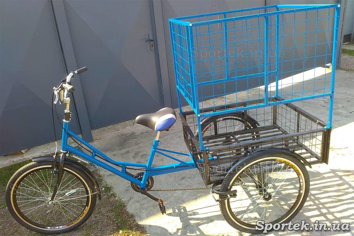 Трехколесный грузовой велосипед 'Цветочный' для объемных и тяжелых грузов сине-черный