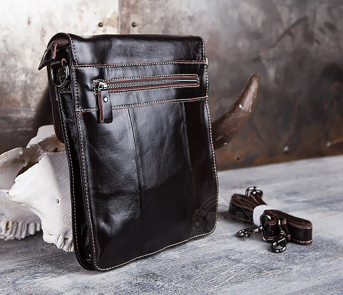 BAG432-2 Красивая мужская сумка с ремнем на плечо из натуральной кожи фото 06