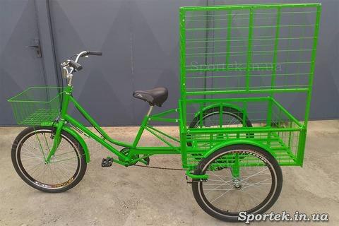 Трехколесный грузовой велосипед 'Цветочный' для объемных и тяжелых грузов и колесами 24