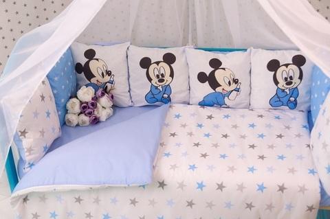 Постельный комплект в кроватку для мальчика Микки