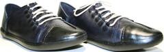 Спортивные туфли мужские Luciano Bellini 12504 B синие, шнурки, кожа.