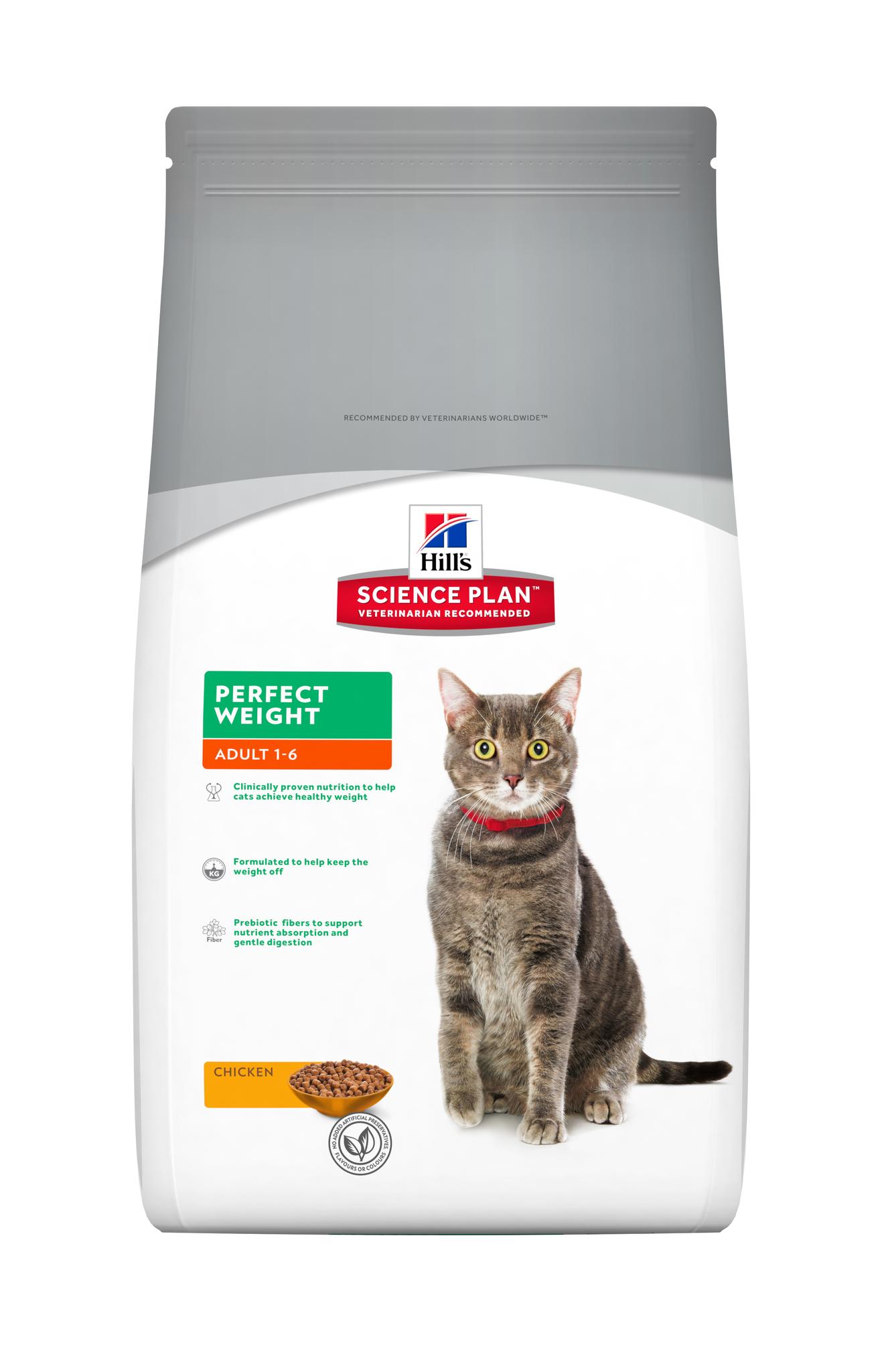 купить хиллс Hill's™ Science Plan™ Perfect Weight with Chicken сухой корм для кошек старше 1 года, склонных к набору веса 1.5 кг