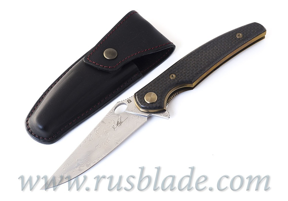 Cheburkov Golden Raven Damascus Folding Knife Gold Plated