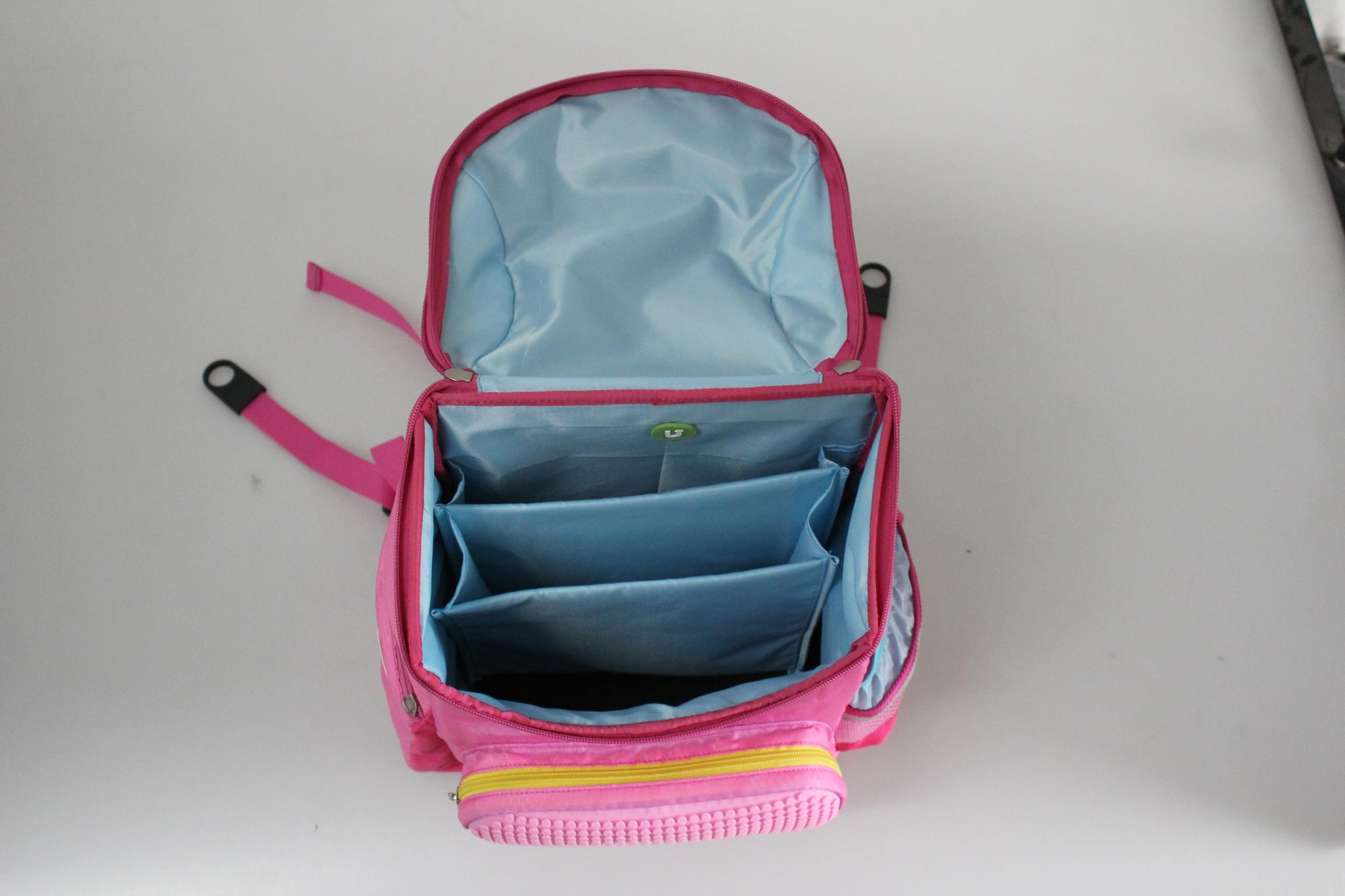 Школьный пиксельный рюкзак Super Class розовый открытый