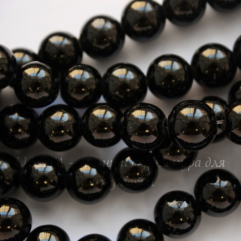Бусина Жадеит (тониров), шарик, цвет - черный, 8 мм, нить