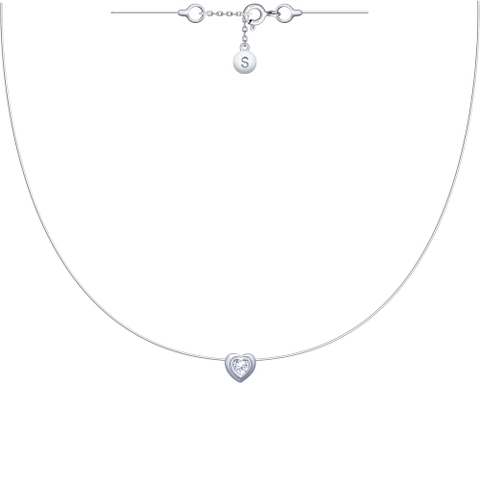Подвеска-сердечко на леске-невидимке с серебряными замочками