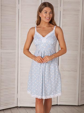 Vivamama. Сорочка для беременных и кормящих с поддержкой груди Nikol, голубой