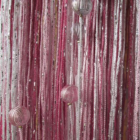 Шторы дождь радуга с шарами - Белые, розовые. фуксия. Ш-300см., В-280см. Арт.1-5-6