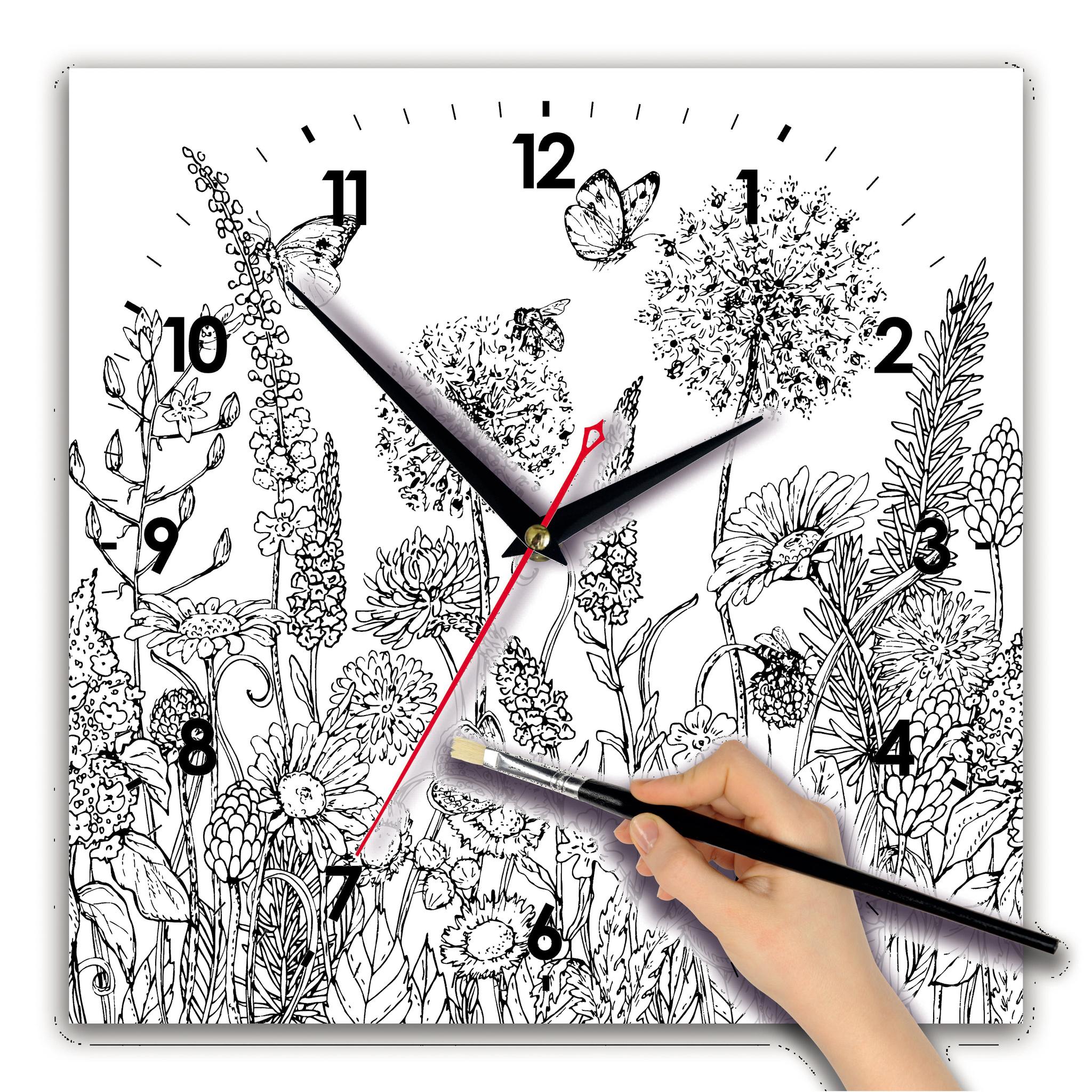 """Часы раскраска сложная """"Луговые цветы"""" - купить оптом от ..."""
