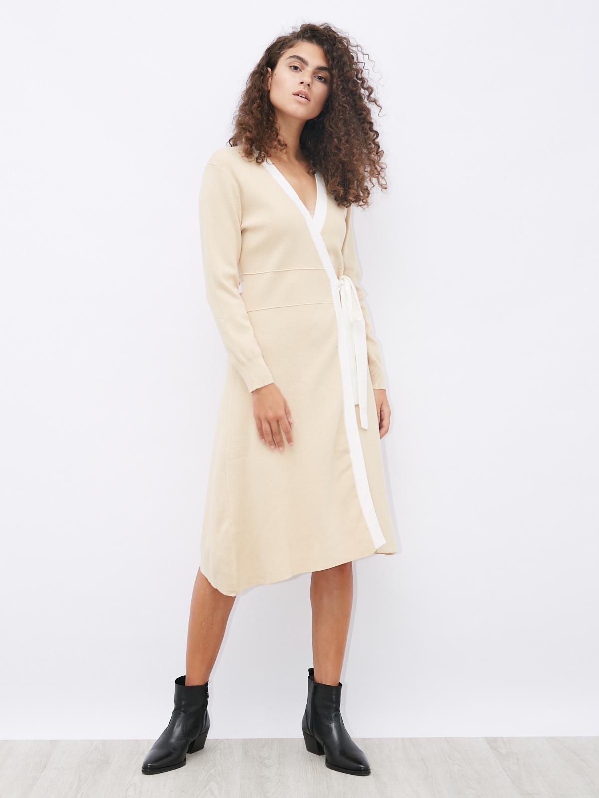 Платье-кардиган с контрастной окантовкой