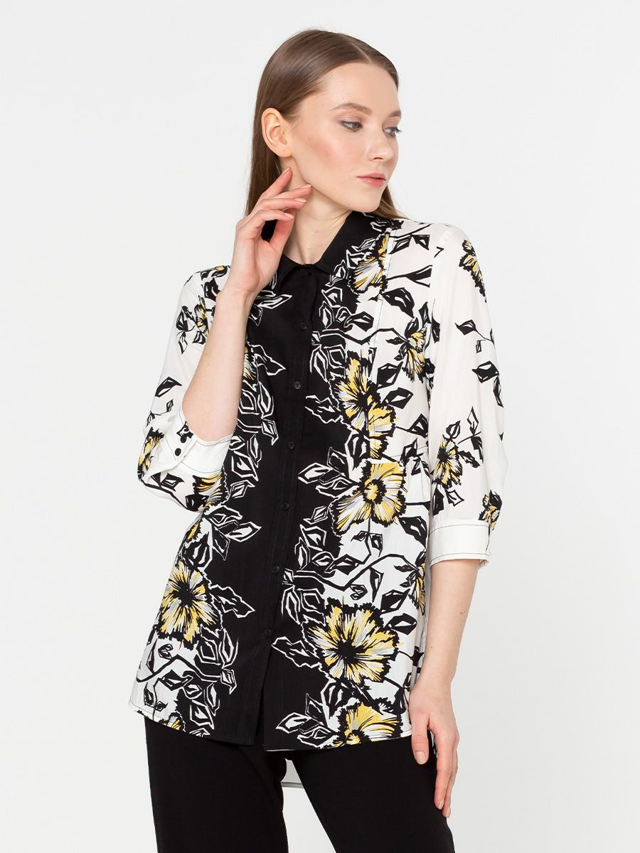 Блуза Г540-556 - Хлопковая блуза с рукавами 3/4 и отложным воротником. Натуральная хлопковая ткань позволяет коже дышать, приятна для тела и комфортна в ношении. Эта модель будет шикарно смотреться на фигуре любого типа.