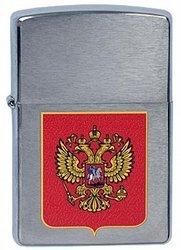Зажигалка ZIPPO Classic Brushed Chrome™ c Гербом России  ZP-200 Герб России