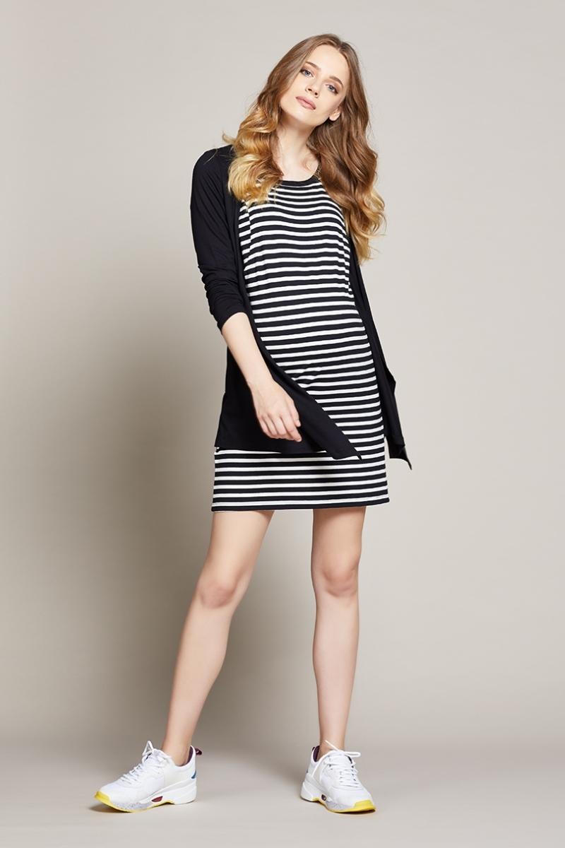 Платье для беременных и кормящих 10210 черно-белый