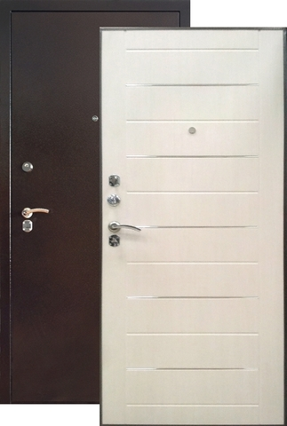 Дверь входная Капучино Мокко К6, 2 замка, 1,5 мм  металл, (антик капучино+ясень белый)