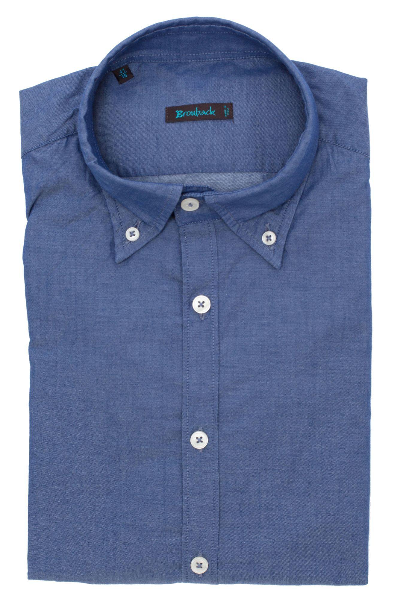 Синяя рубашка с воротником на пуговицах