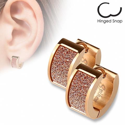 Оригинальные женские красивые стильные серьги кольцами с позолотой с алмазным блеском из нержавеющей медицинской хирургической ювелирной стали 316L SPIKES SEZ-15