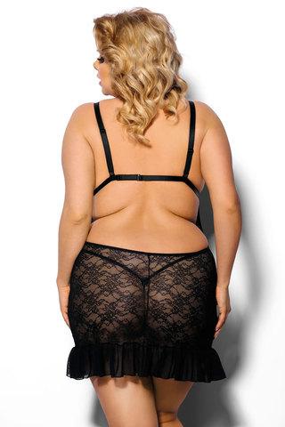 Черная кружевная короткая сорочка большого размера