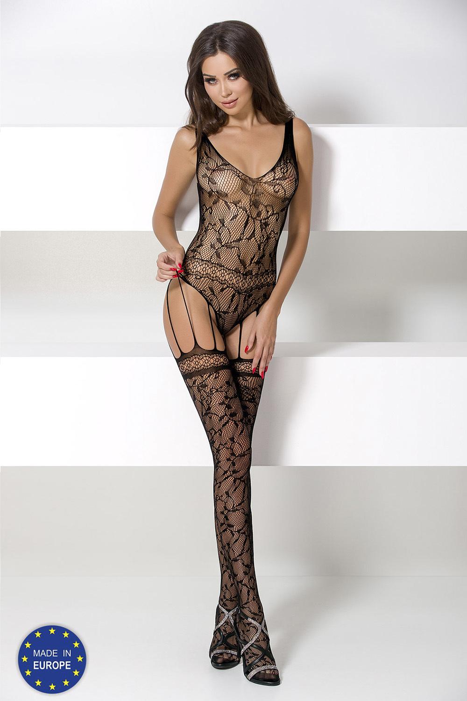 Боди-комбинезон сетка черный с чулочками на подвязках (Боди-комбинезоны)