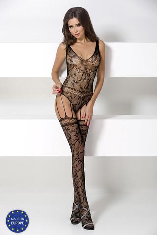 Боди-комбинезон сетка черный с чулочками на подвязках