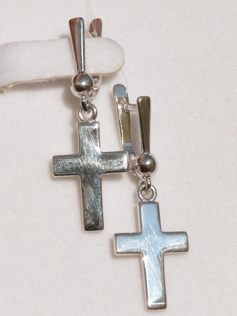 Крест-подвеска С(серьги из серебра)
